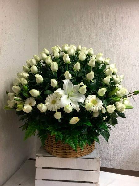 Canasta con 6 docenas de rosas blancas