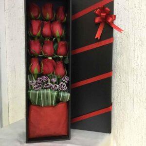 Caja larga c/12 rosas